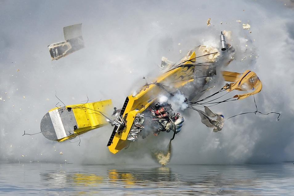 A drag boat disintegrates in a