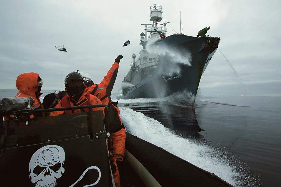 """MV Steve Irwin crew hurl bottles of butyric acid at Japanese harpoon ship, the Yūshin Maru No. 1 during a clash in Antarctica's Ross Sea. """"Rotten butter bombs"""" were aimed at the whaling ship's deck in the hope of making work onboard difficult, and tainting meat to be sold at market."""