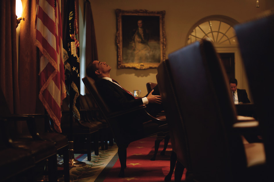 President Barack Obama during a staff prep session for a press conference at the White House.