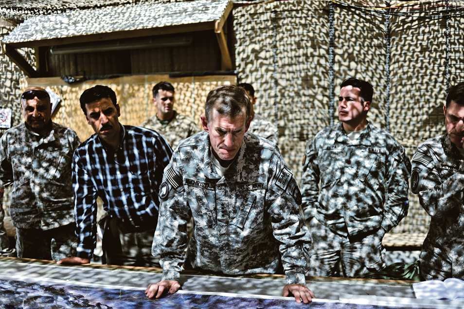 General McChrystal meets with U.S. and Afghan commanders at Forward Operating Base Delhi in Helmand Province, Afghanistan.