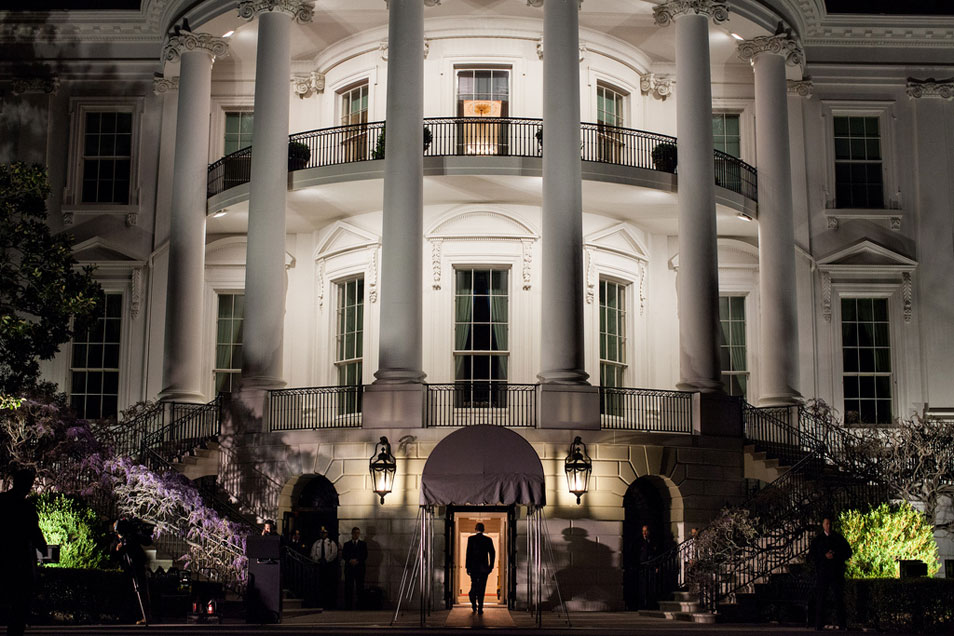 On March 30, 2012, President Obama enters the South Portico of the White House after arriving on Marine One. Official White House Photo by Pete Souza.