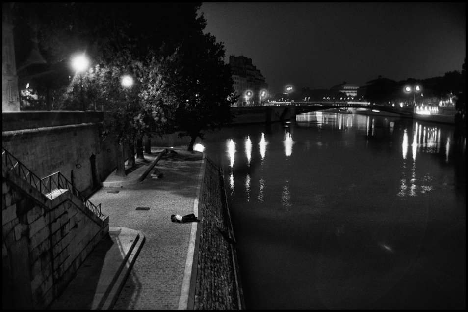 Couple Kissing by Seine River