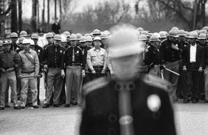 Police line in Selma, Alabama, 1965. © Flip Schulke
