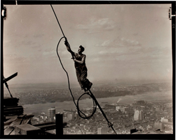 """Icarus Atop Empire State Building,"" 1931. Transfer from Photo League Lewis Hine Memorial Committee © Lewis W. Hine/George Eastman House Collection"