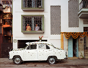 McPhee-Ambassador-Car-Decorated-for-a-Wedding-by-a-Net-Strung-with-Fresh-Flowers-South-Kolkata-1998